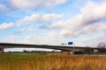 ijssel: A28 highway crossing the river Ijssel at Zwolle in The Netherlands Stock Photo