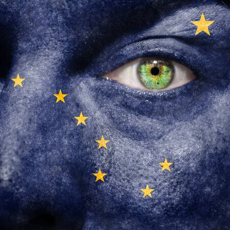 north star: Flag painted on face with green eye to show Alaska support