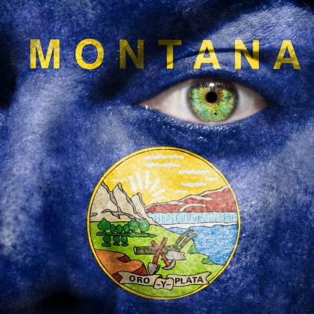 helena: Flag painted on face with green eye to show Montana support