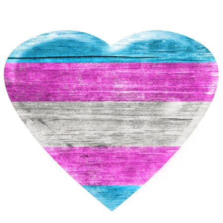 3D Transgender wooden heart Stock Photo