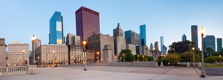 Panoramic View of buildings on  South Wabash Avenue in Chicago in the early morning Stock Photo
