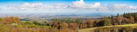 woody bay: Panorama of Dublin City and the Dublin bay up to Howth as seen from Wicklow Mountains Stock Photo