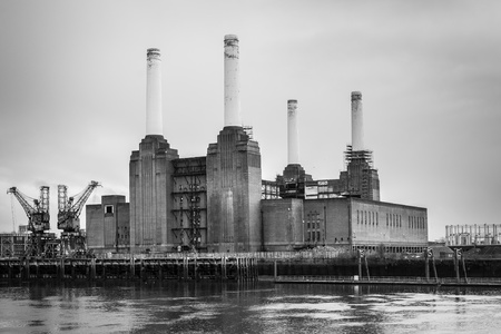 Battersea Power Station located in Chelsea London in monochrome photo