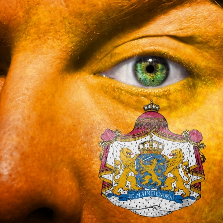 orange nassau: Dutch coat of arms painted on orange face with green eye