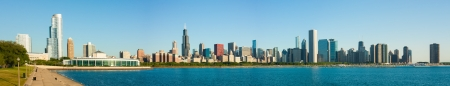 navy pier: Massive extended panorama of the Chicago skyline early morning Stock Photo