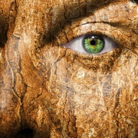 hijacked: Conceptual image of a face with a bark brown skin