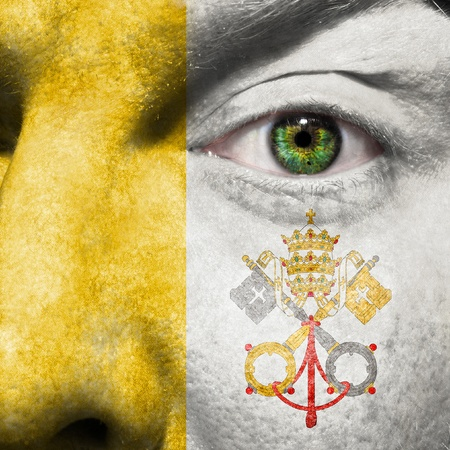 Face with green eye to show Vatican City State flag support photo