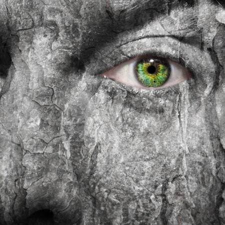hijacked: Conceptual image of a face with a scared grey skin Stock Photo