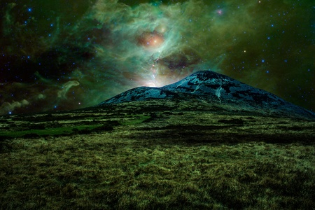 orion: Green alien landscape with mountain in a far away galaxy - elements of this image are furnished by NASA