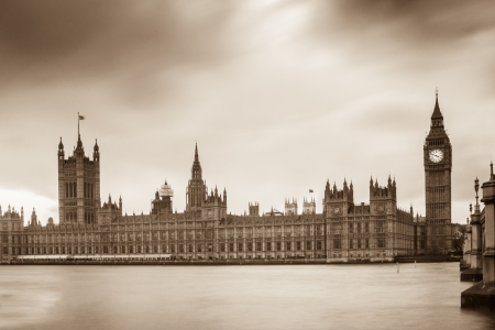 commons: Houses of Parliament and Elizabeth Tower in London in sepia color style