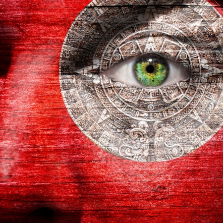 mayan prophecy: Red face with Mayan Calendar