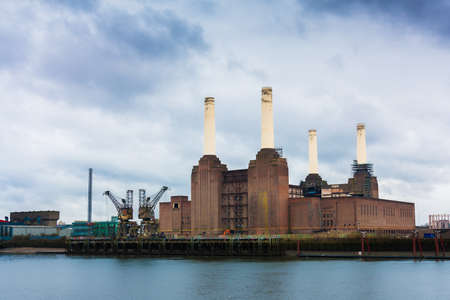 industry moody: Moody image of Battersea Power Station in Chelsea London