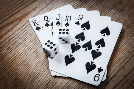 double the chances: Poker hand cards and double six dice