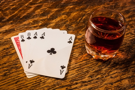 eights: Wild Bill Dead Mans Hand with a shot of whiskey