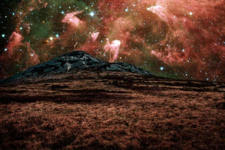 Red alien landscape with mountain in a far away galaxy - elements of this image are furnished by NASA photo