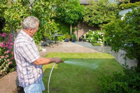 Senior man watering his garden on a sunny day