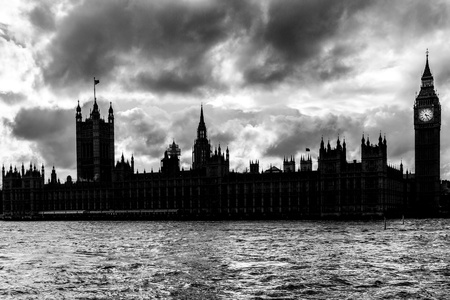 Silhouette of Houses of Parliament and the Big Ben in London in monochrome photo