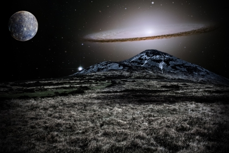 Silver alien landscape with mountain in a far away galaxy - elements of this image are furnished by NASA 写真素材
