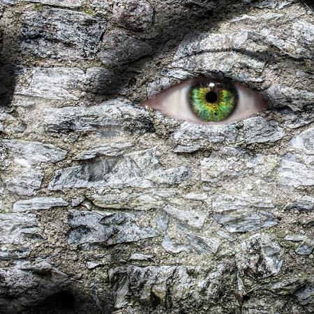 eye mask: Stone face with green eye