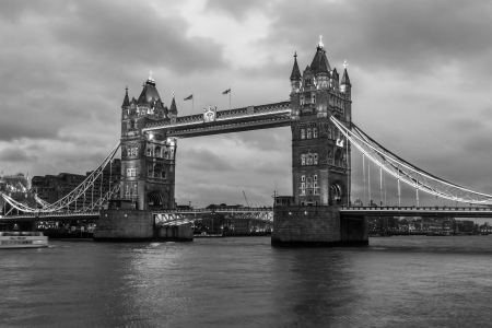 Tower Bridge in London at Night in monochrome