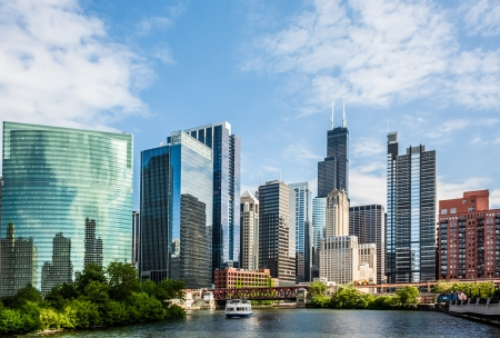 high rise buildings: West Wacker Drive Skyline in Chicago as seen from the city river