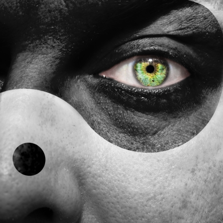 interdependent: Yin yang face with green eye