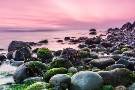 sunup: Bray Head and the Irish Sea at sunrise in County Wicklow Ireland