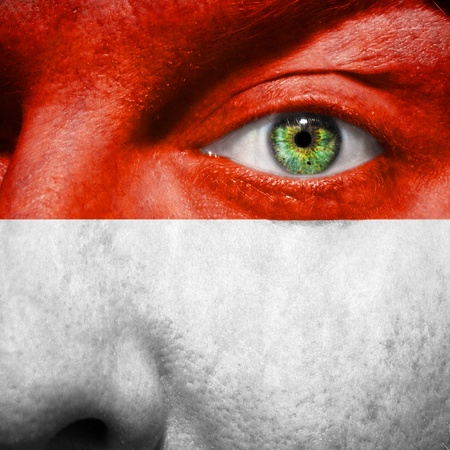 the indonesian flag: Indonesian flag painted on a mans face to support his country Indonesia
