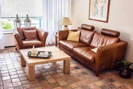 Warm casual contemporary living room interior Stock Photo - 21621532