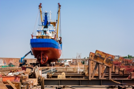 fishing industry: Fishing trawler in a drydock