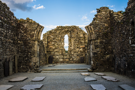 monastic sites: Monastic City with Ruins of The Cathedral located in Glendalough Ireland