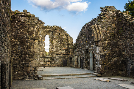 monastic sites: Ruins of The Cathedral in the Monastic City located in Glendalough Ireland Stock Photo