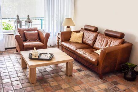 Warm casual contemporary living room interior Stock Photo - 22430721