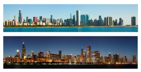 Horizon van Chicago bij Dag en Nacht Stockfoto