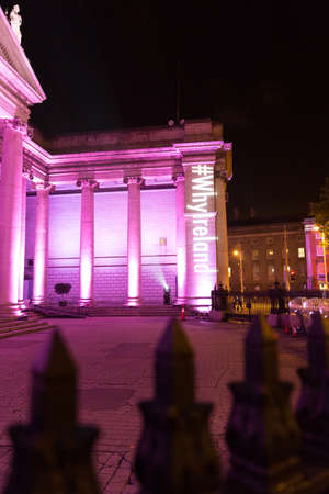 ida: DUBLIN � OCTOBER 30  F�ilte Ireland works with Trinity College and the IDA to develop high impact light projections on the fa�ade of Trinity College and Bank of Ireland on October 30, 2013 in Dublin