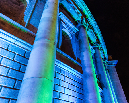 ida: DUBLIN – OCTOBER 30  Fáilte Ireland works with Trinity College and the IDA to develop high impact light projections on the façade of Trinity College and Bank of Ireland on October 30, 2013 in Dublin