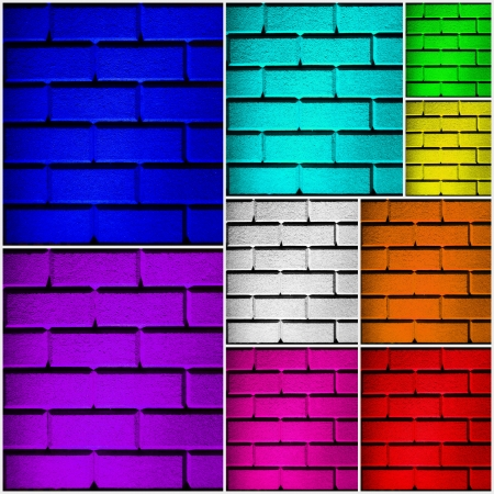 wall collage with 9 colored walls in different sizes and in all