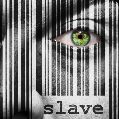 symbol victim: Barcode with the word slave as concept superimposed on a mans face Stock Photo