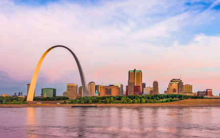 St  Louis skyline panorama including the Gateway Arch