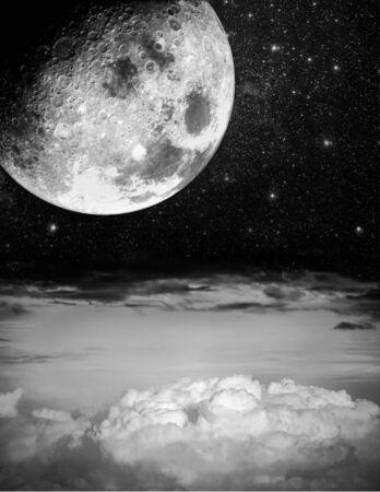 on cloud nine: Big moon and starry night above the clouds Stock Photo