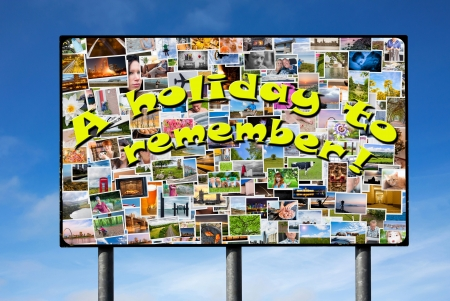 Billboard with holiday photos and a slogan in big yellow letters photo