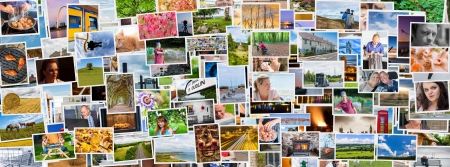photo montage: Collage of images of a persons life in an exact social media banner size Stock Photo