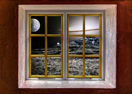 alien landscape: Vista di un paesaggio alieno con supernova attraverso una finestra