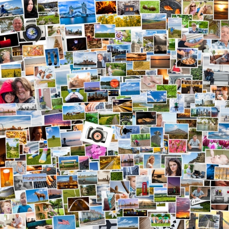 Collage of photos of a persons life in 1x1 ratio Stock Photo