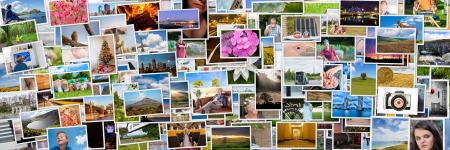 Collage of photos of a persons life in 3x1 ratio