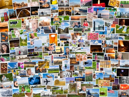 photo album book: Collage of photos of a persons life in 4x3 ratio Stock Photo