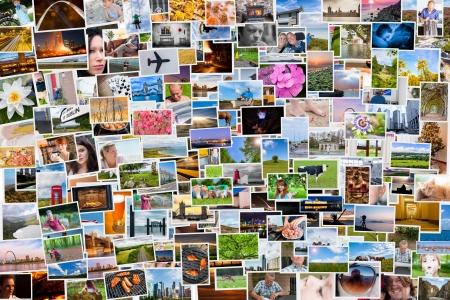 Collage de fotos de la vida de una persona en relación de 6x4 Foto de archivo - 25596175