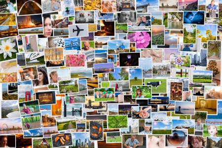 Collage of photos of a persons life in 6x4 ratio Stock Photo