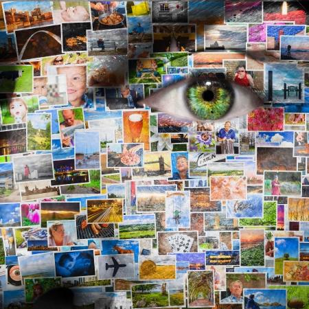 collage caras: Las im�genes de la vida de un hombre superponen en su cara en formato cuadrado