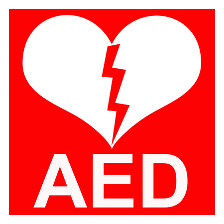 indicate: Isolation of a red AED Sticker to indicate that there is a defibrillator located in the building or indicating the exact location Stock Photo